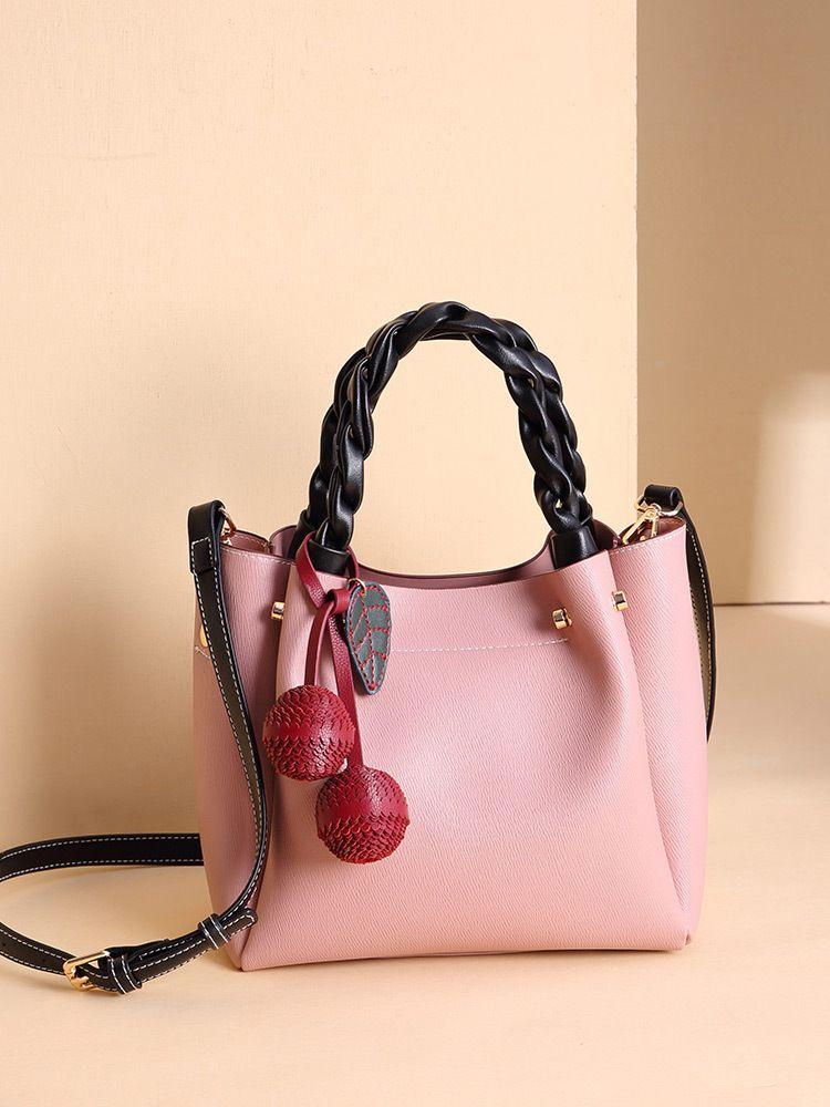 2021 Alta Qualidade e Doce PU Couro Bucket Bag Mulheres Messenger Bag Moda Grande Capacidade Colora Sólida Bolsa De Cereja Embelezamento