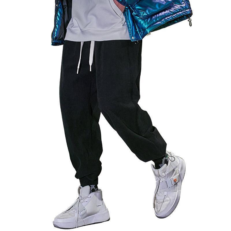 Fashion Hommes Corduory Santé de bonne qualité Pantalon noir et gris Homme Nouveau Hiver 2020 Pantalon de sport pour hommes Élastique
