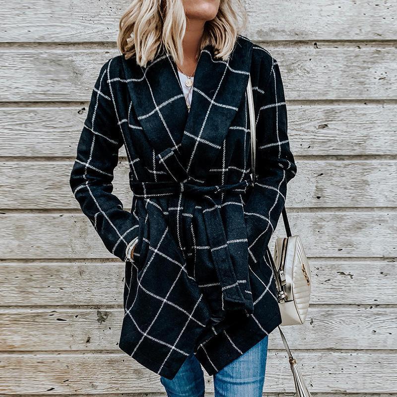 FY Vanland Automne Winter Femmes Moyenne manches longues Manteaux de laine Mode Vintage Villettes Verfeuilles Lâches Vestes Femmes Windbreaker