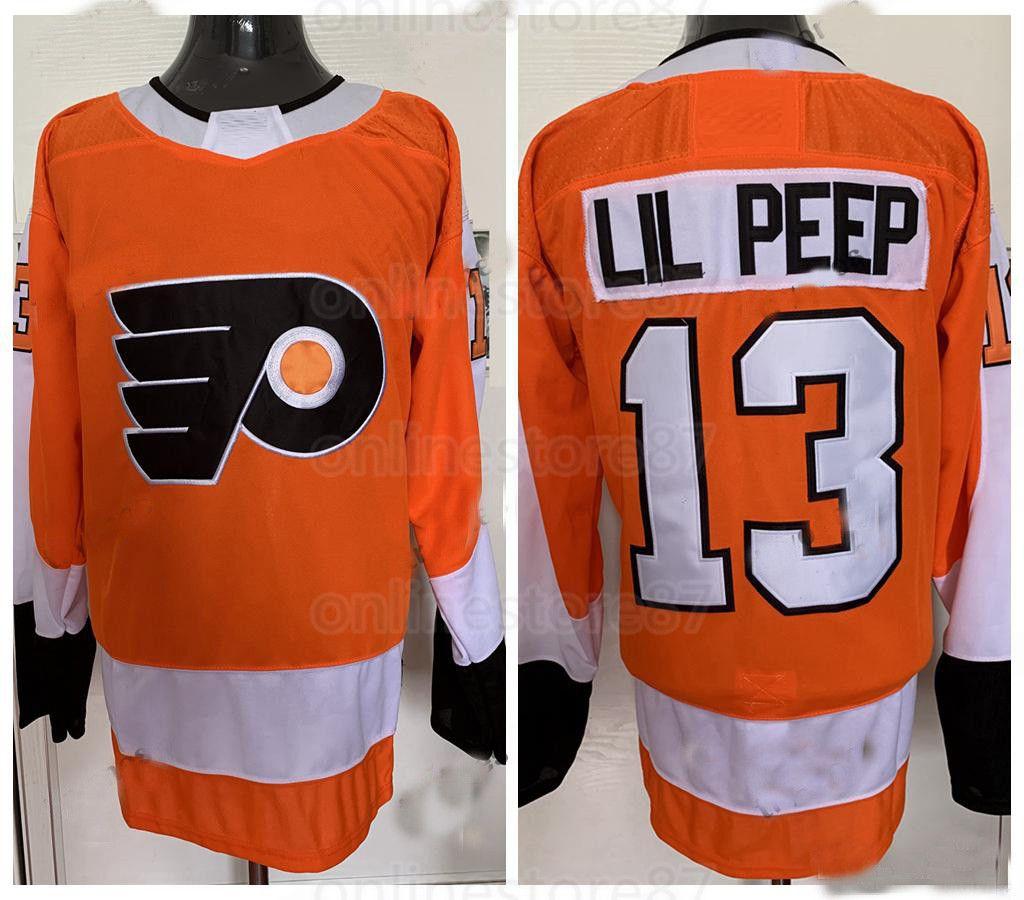 Erkek Moda Yıldız # 13 Lil Peep Philadelphia Flyers Hokey Formaları Kadın Gençlik Dikişli Özel Herhangi Bir Ad ve Numarası Jersey Turuncu Siyah Beyaz