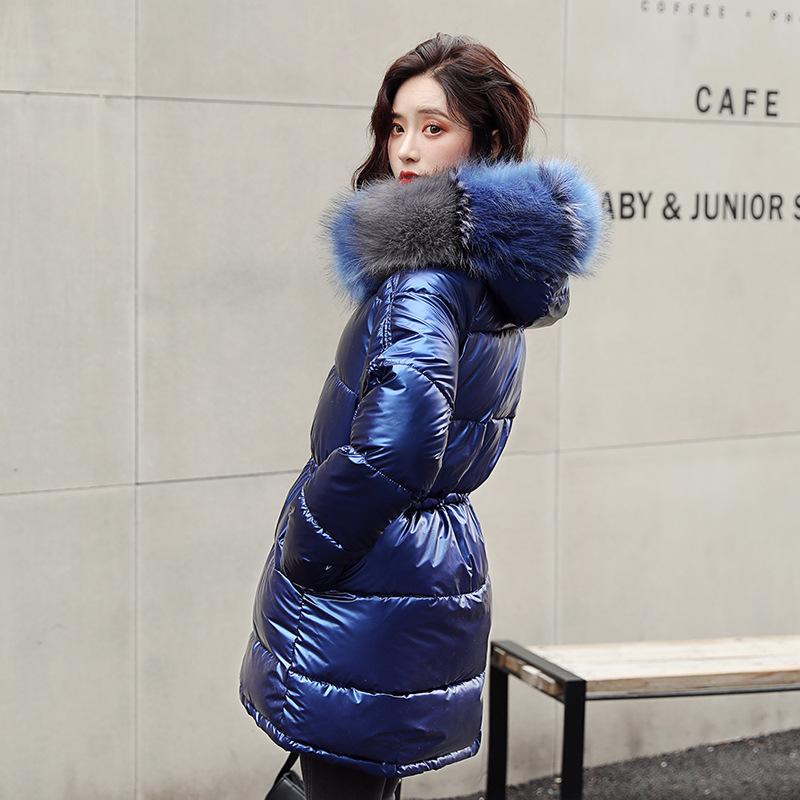 Меховой воротник Серебряная женская куртка женская Женская серебряная серебряная куртка для женщин для женщин высокое качество куртка с капюшоном