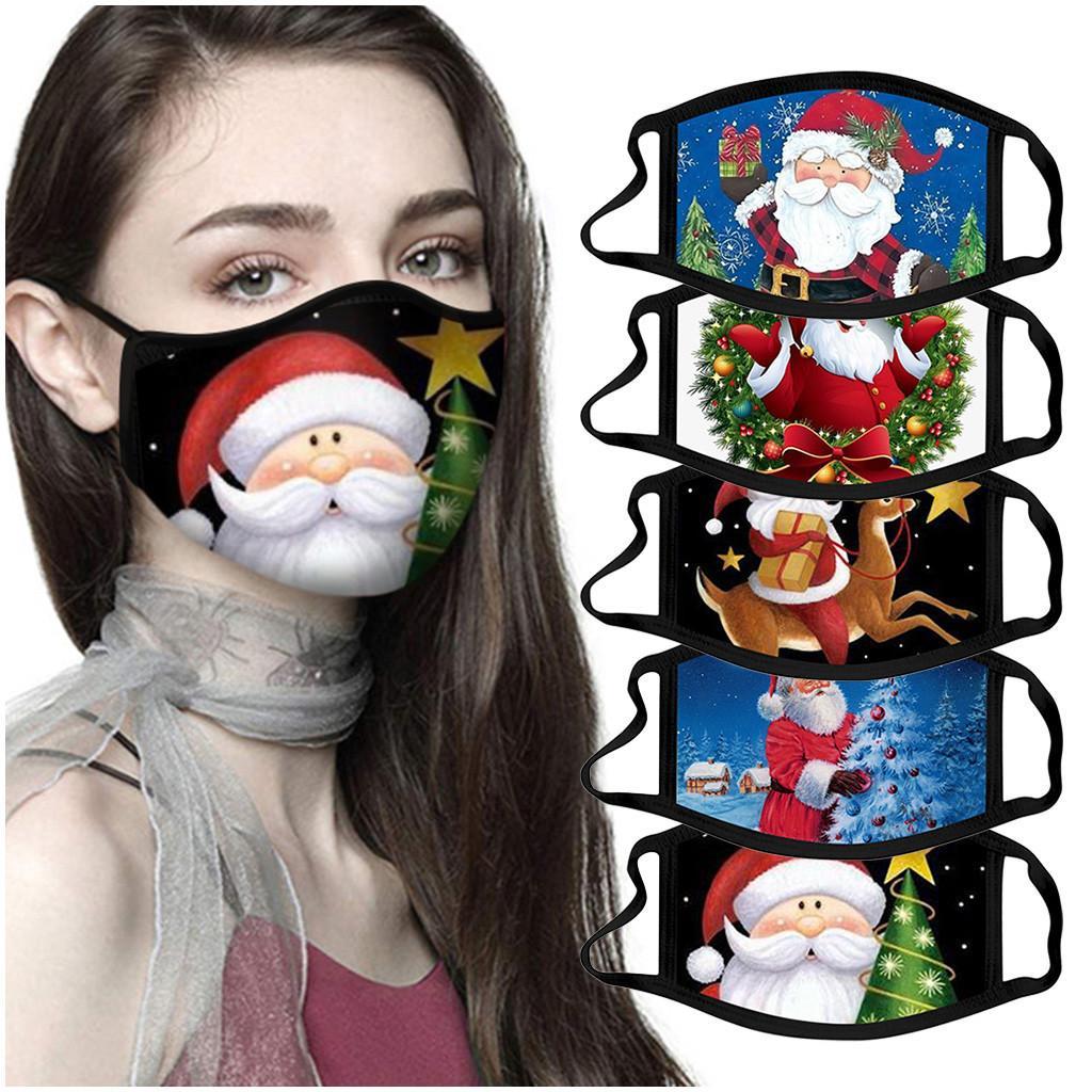 عيد الميلاد قناع الوجه الغبار امرأة الأزياء reusable ركوب الدراجات قابل للغسل الكرتون القطن عيد الميلاد سانتا بند حزب قناع