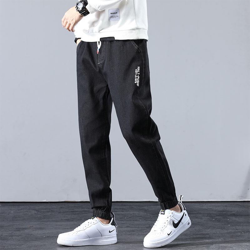 Pantalones vaqueros para hombres 2021 Otoño Casual Hombres Elásticos Straight Masculino Denim Cultivado Pantalones Harem Gray Slim Stretch Thin Leggings Longitud Pantalones