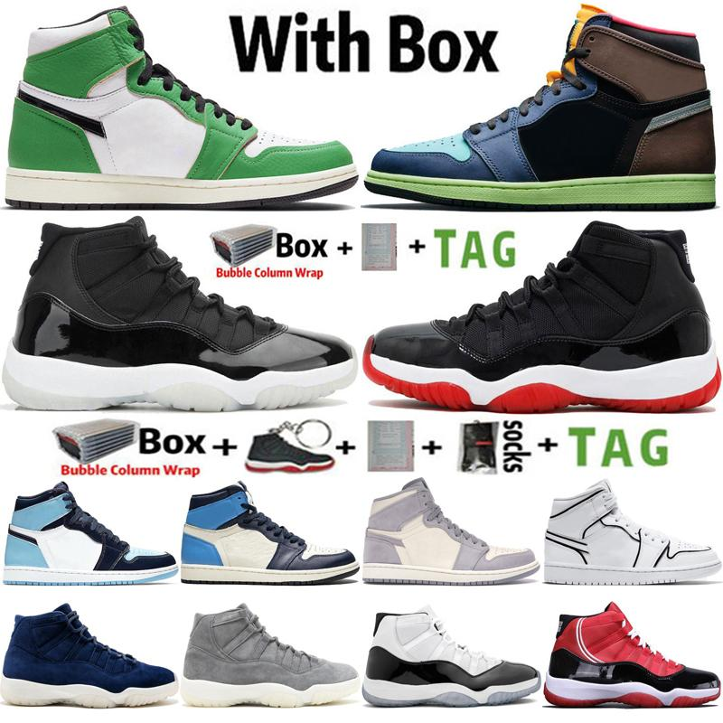 2021 Yüksek Jumpman 1 OG 1 S Şanslı Yeşil Işık Duman Gri Erkek Basketbol Ayakkabıları 11 11 S 25. Yıldönümü Concord 45 Erkek Kadın Retro Sneakers Spor Eğitmenler Boyutu 36-47