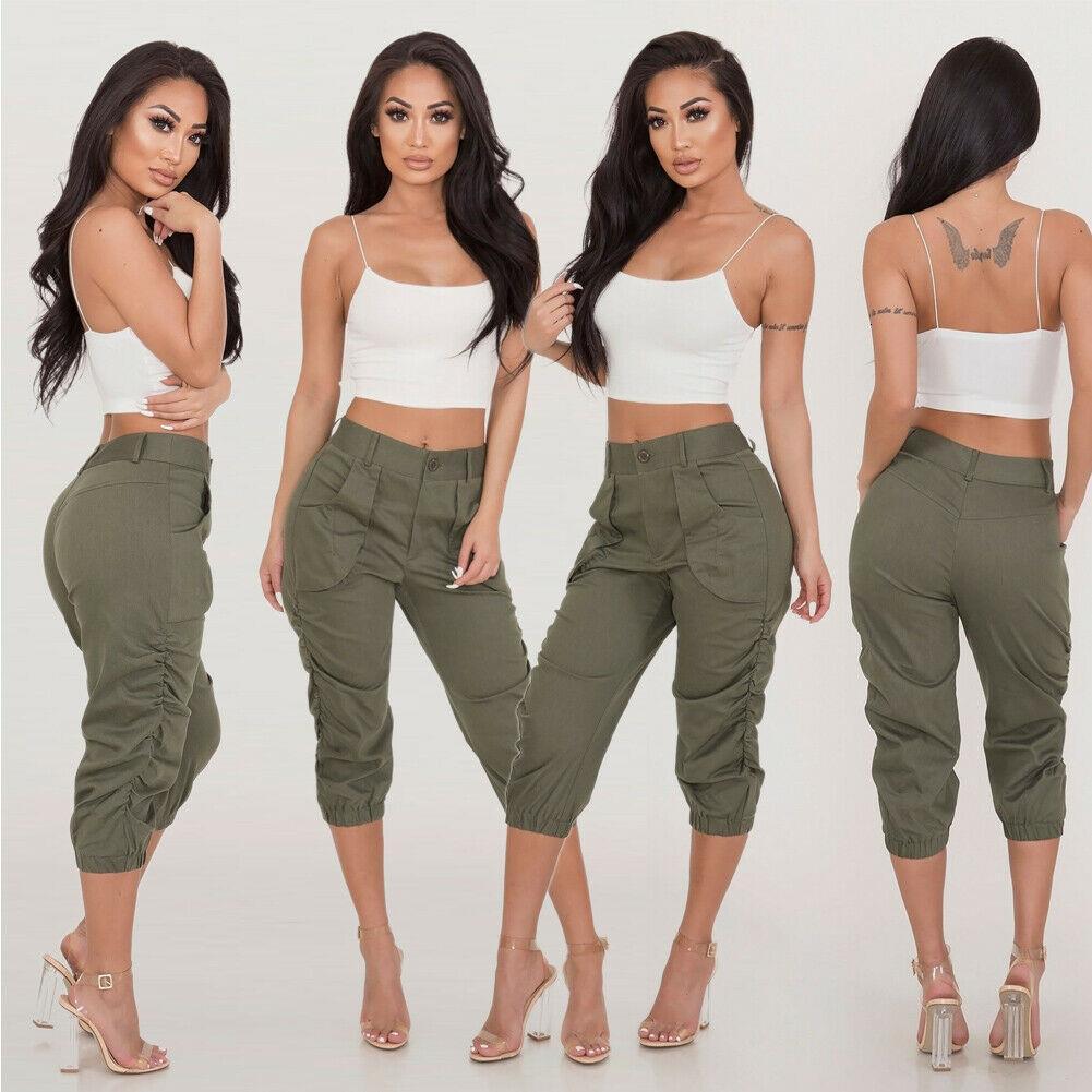 S-2XL Womens Cargo Pants Hohe Taille Jogger Skinny Hose Taschen Stretchte Plissee Capri Länge Hosen UK