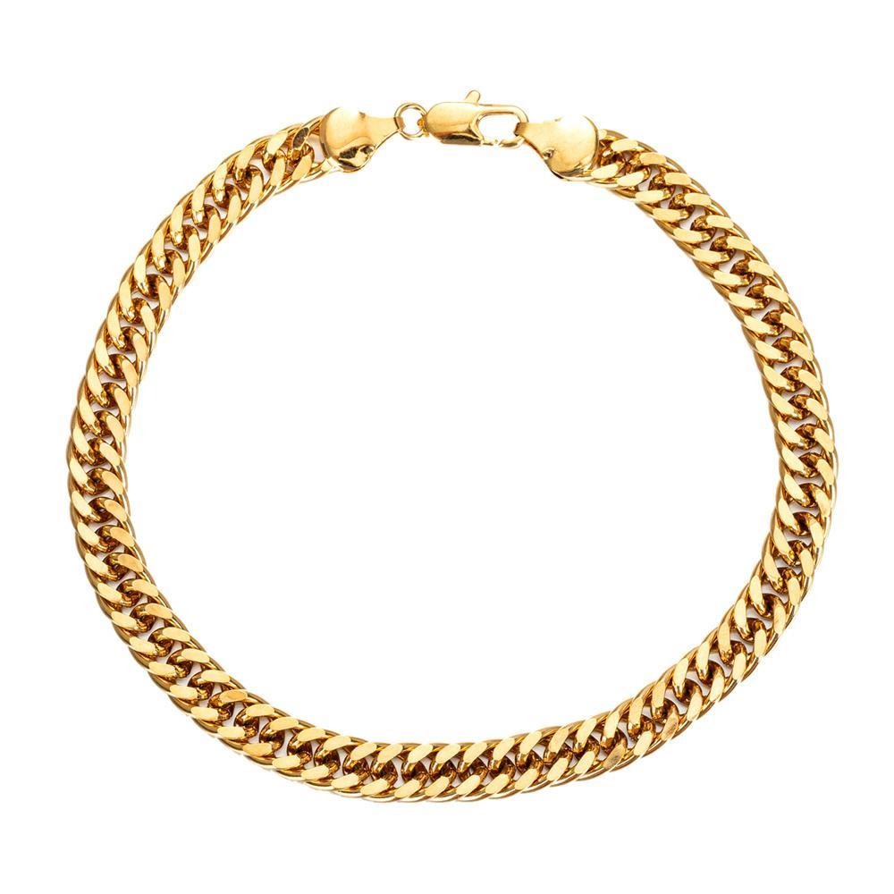 واسعة 7 ملليمتر الكوبي ربط سلسلة خلخال لون الذهب، سميكة 9 10 11 بوصة سوار الكاحل للنساء الرجال للماء