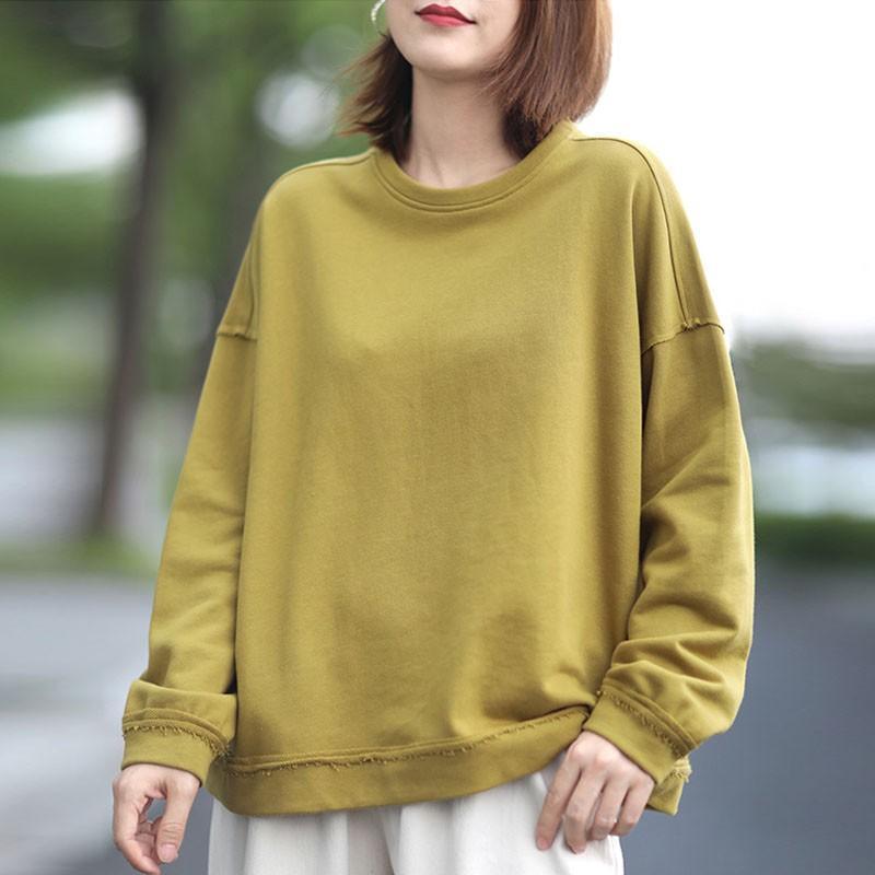 Kadın T-shirt 2021 Sonbahar Kore Gevşek Rahat O-Boyun Uzun Kollu Pamuk Artı Boyutu Basit Rahat Tüm Maç Kadınlar Üst