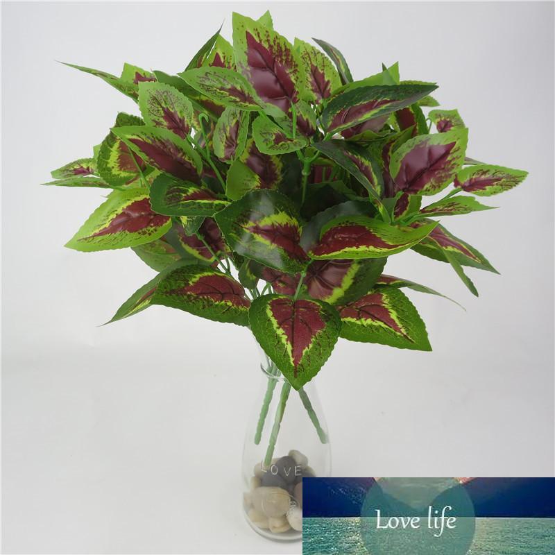 1 ADET Yapay Bitki Çiçek Yapraklı Plastik Yeşil Çim Ağaç Bitki Sahte Yaprak Yeşillik Bush Ev Düğün Otel Partisi Dekor Için