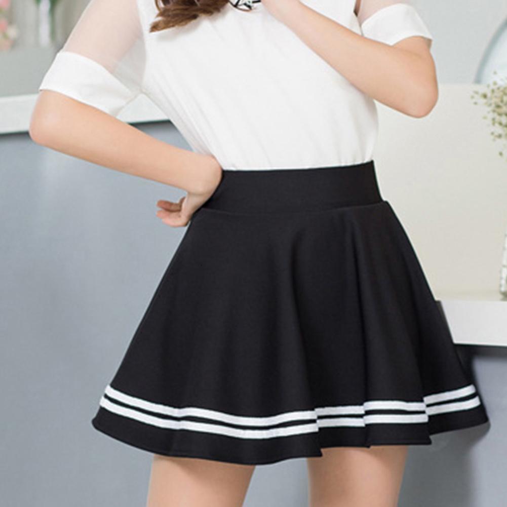 Mulheres moda cor sólida alta faixa de cintura alta plissada uma linha mini saia da escola drop frete de boa qualidade
