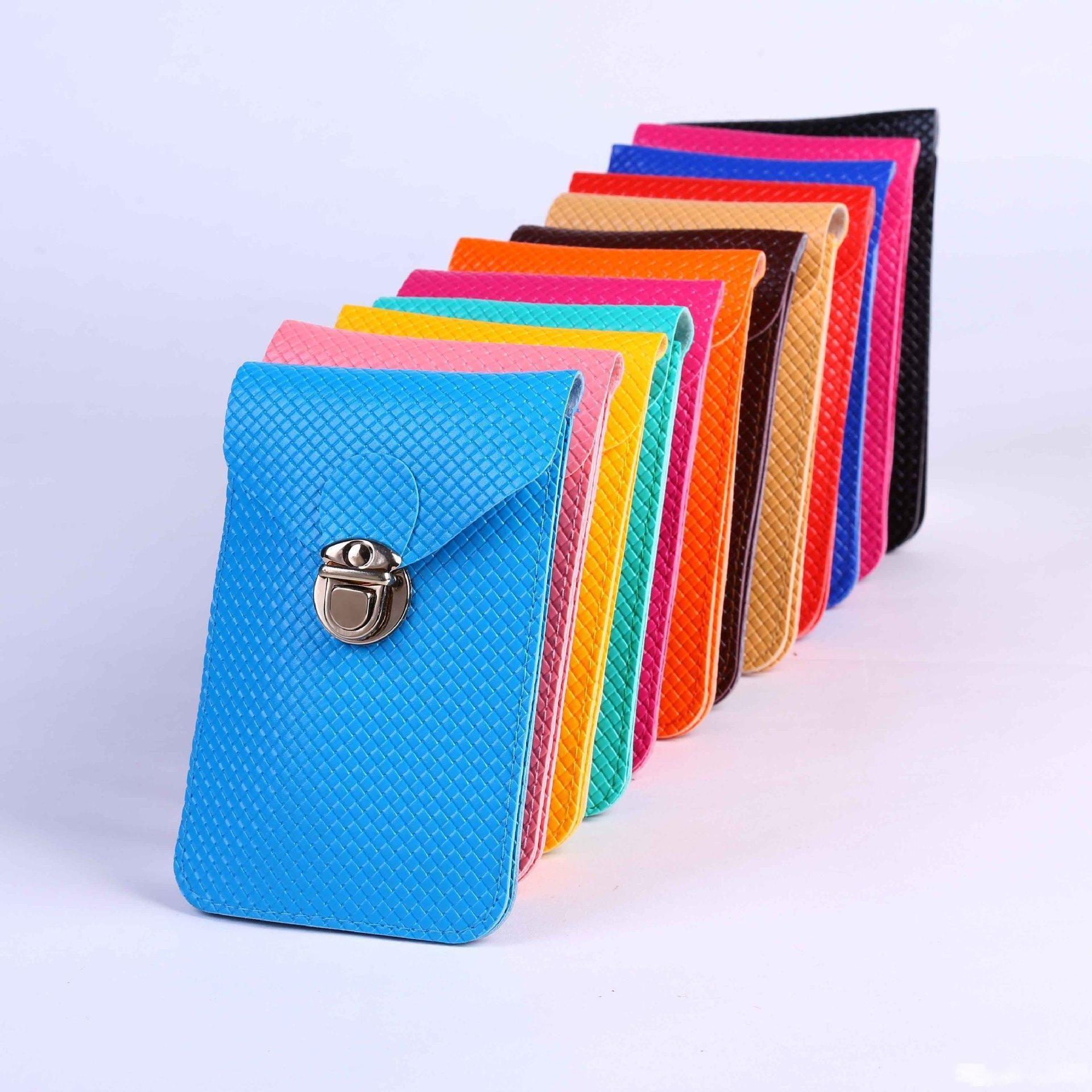 New Fashion Women Messenger Shoulder Bag Ladies Mini Bag Cell Phone PU Leather Plaid Tartan Purse Candy Colors Cross Body Bags