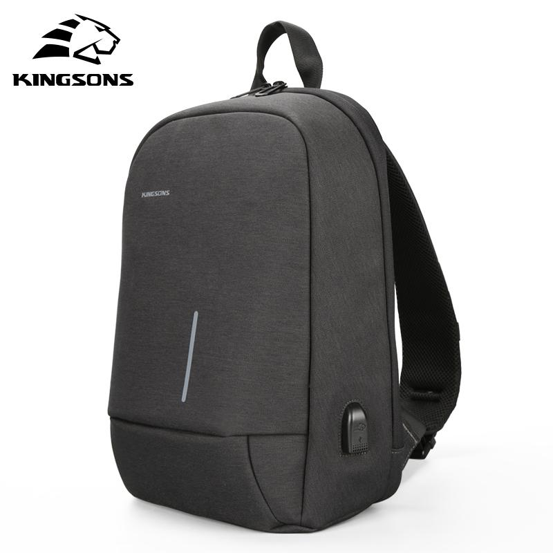 Kingsons Single Shoulder Backs Backs Body Body Borse Body Body Fashion USB Carica Viaggi Back Pack Casual Messenger Pack