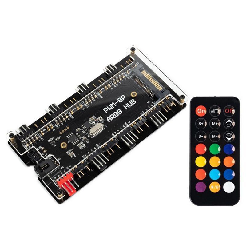 VODOOL-Fernbedienung PWM-Fan-Hub 8-Port 4-poliger PWM-Lüfter 1 bis 8 3-Pin-Argb adressierbar RGB-LED-Nabe für PC-Kühlersteueradapter