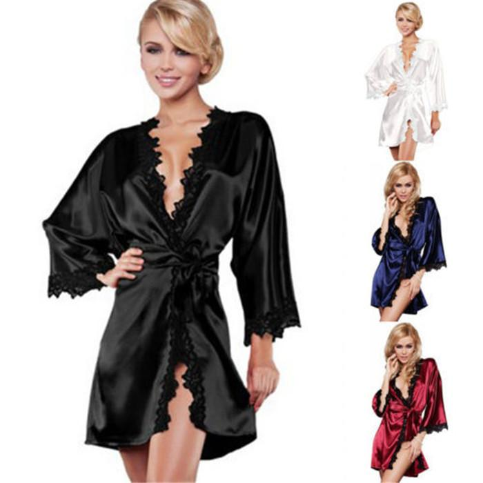 Sexy Womens Sleepwear Long Sleeve V Neck House Wear Ice Silk Nightdress Spring Autumn Fashion Sexy Women Pajamas Robes