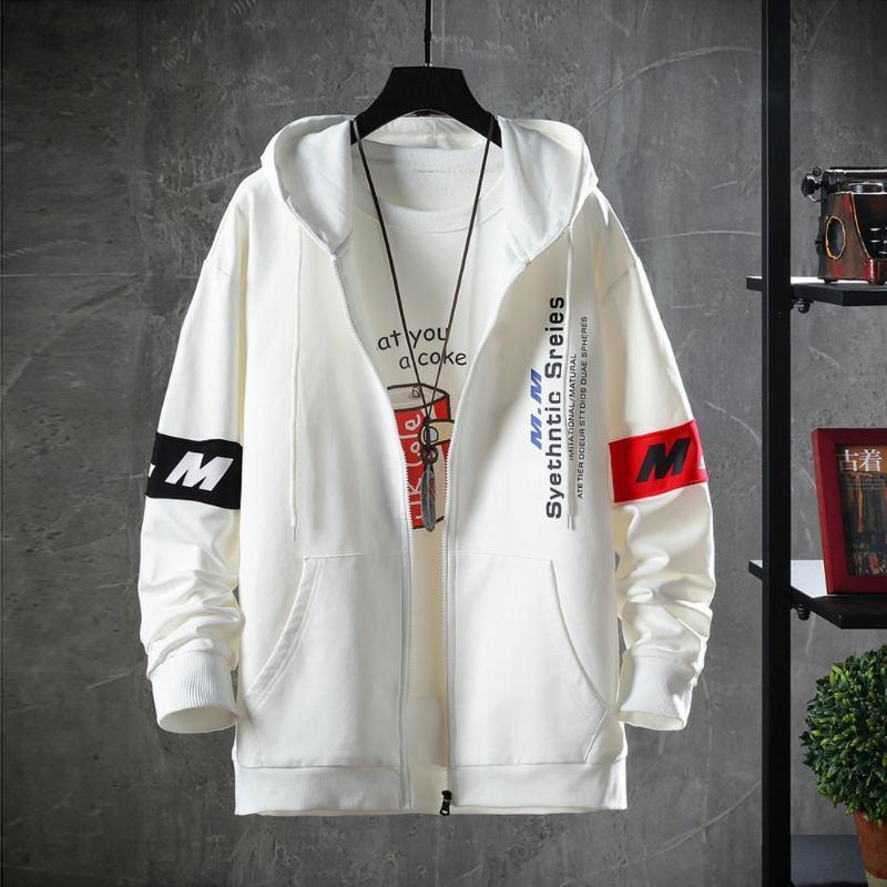 Casaco masculino de inverno hip hop de moda casual impressão patchwork hoodie mangas compridas camisola casaco dos homens casacos com um zíper