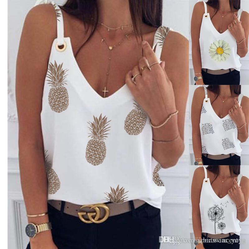 Yaz OL Beyaz T Gömlek Mektup Baskı Bayanlar Gömlek Şifon Bluz Bayan Bluz Siyah Seksi V Yaka Tops Moda Suspende Düğmeler Giysileri Çin