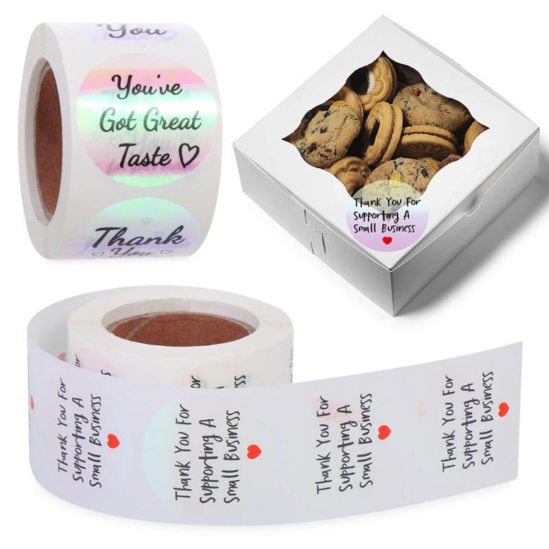 500 pçs / rolo laser holográfico obrigado adesivos auto adesivo etiqueta etiqueta etiqueta festa de casamento de casamento embalagem