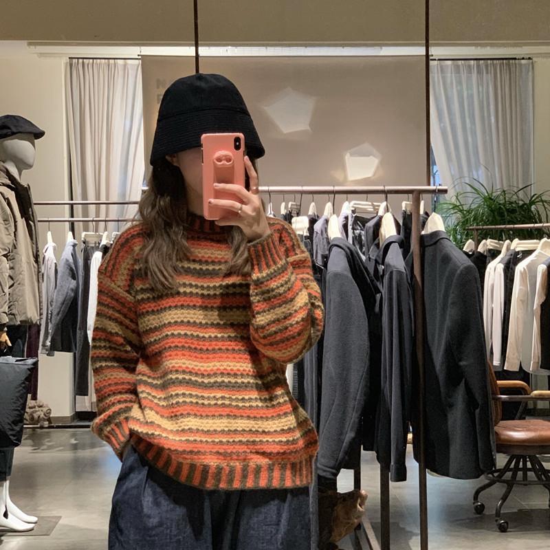 Женские круглые шеи ретро с длинным рукавом свитер студент прилив носить трикотажные верхние корейский осень зима теплые полосатые пуловеры ML144
