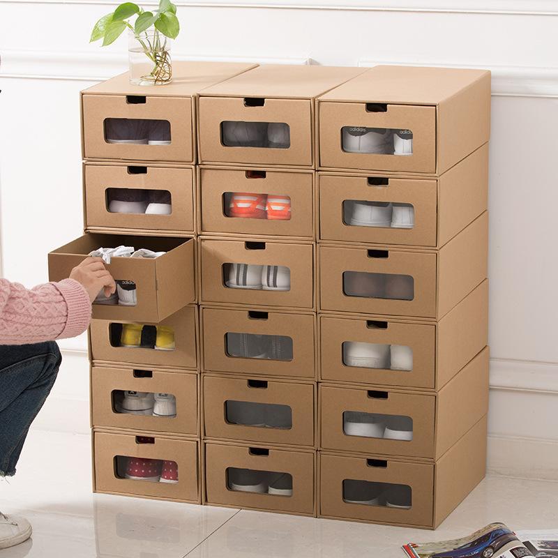 Tipo de gaveta de papel sapatos caixa de armazenamento unisex espessamento papéis de qualidade sapatos de qualidade caixas de armazenamento mulheres homens organizador caso ccf3077