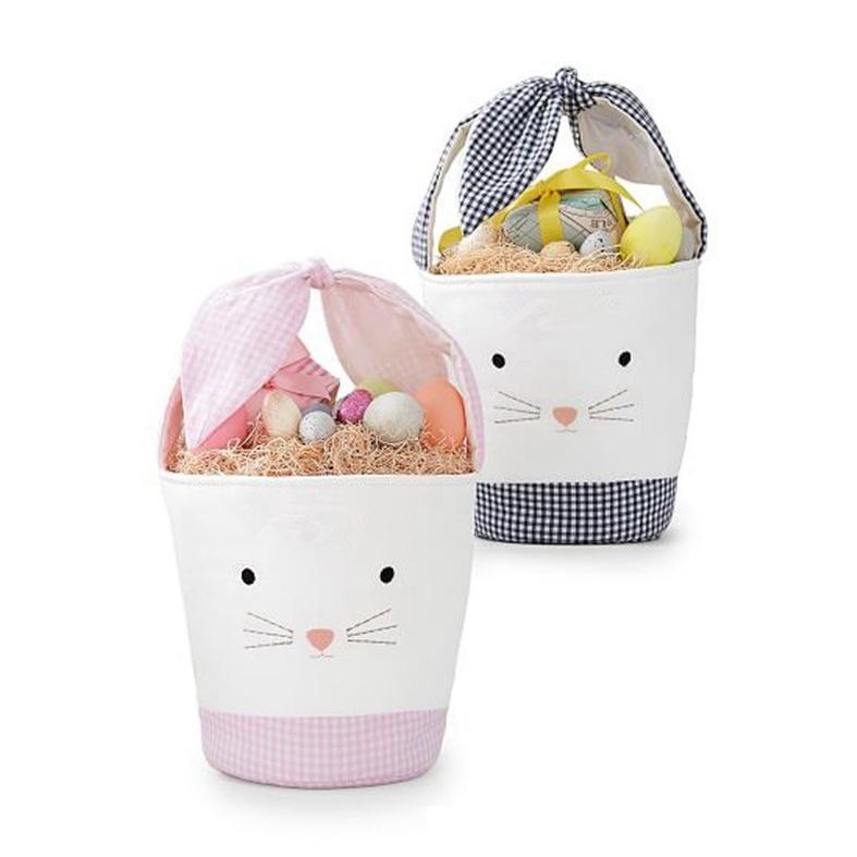 Pascua Conejo Canasta Pascua Bunny Bolsos de regalo Conejo Impreso lienzo Bolsa de asas Bowknot Dulces Cestas Cyz2957 Mar