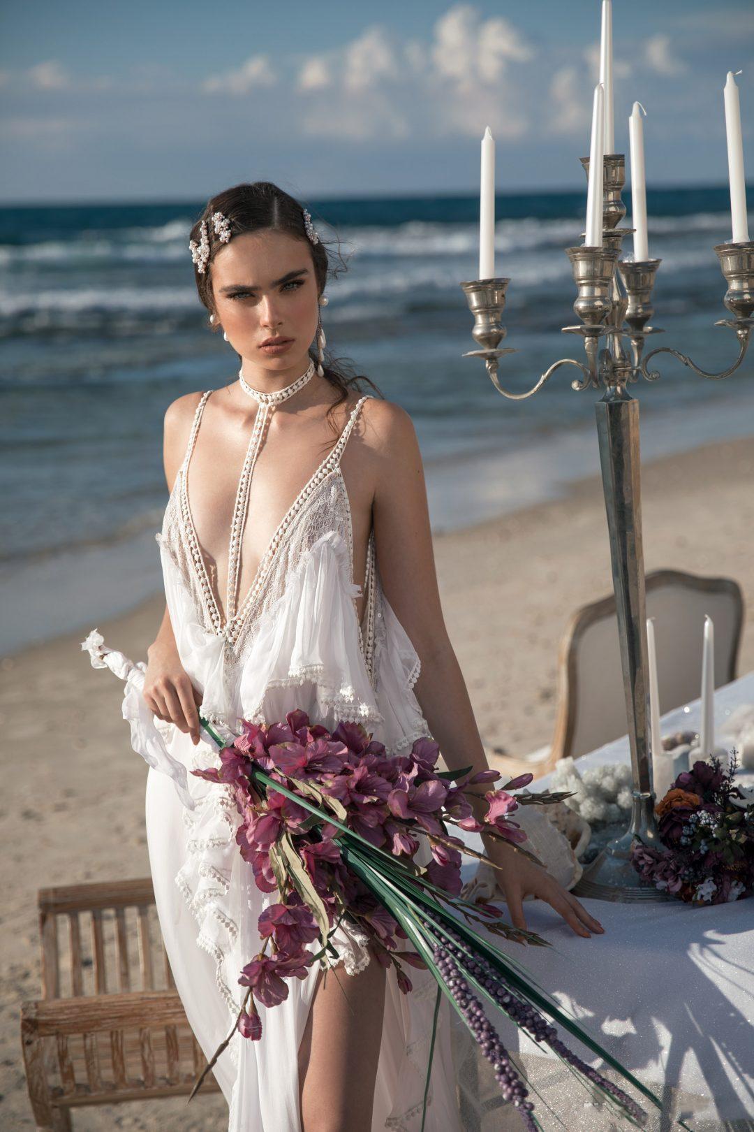 MILATAL ZANO 2021 BOHO Свадебные платья Deep V-шеи Бисером Сексуальный Высокий Сплит Старинные Шифон Готические свадебные свадебные платья Vestidos de Novia