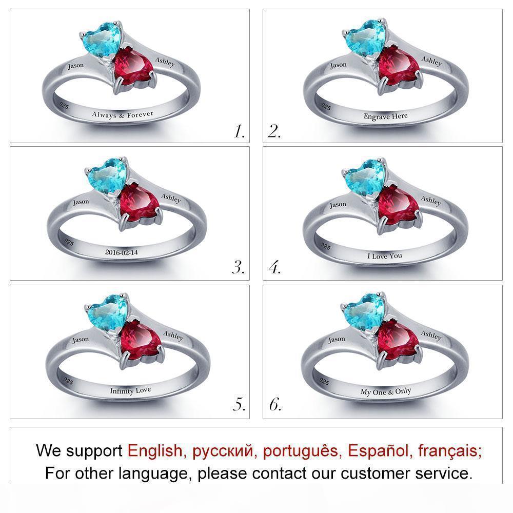 K Yizhan Personalisierte unendliche Liebesversprechen Ring Doppel Herz Steine 925 Sterling Silber Schmuck Kostenlose Geschenkbox (Silber Si1789)