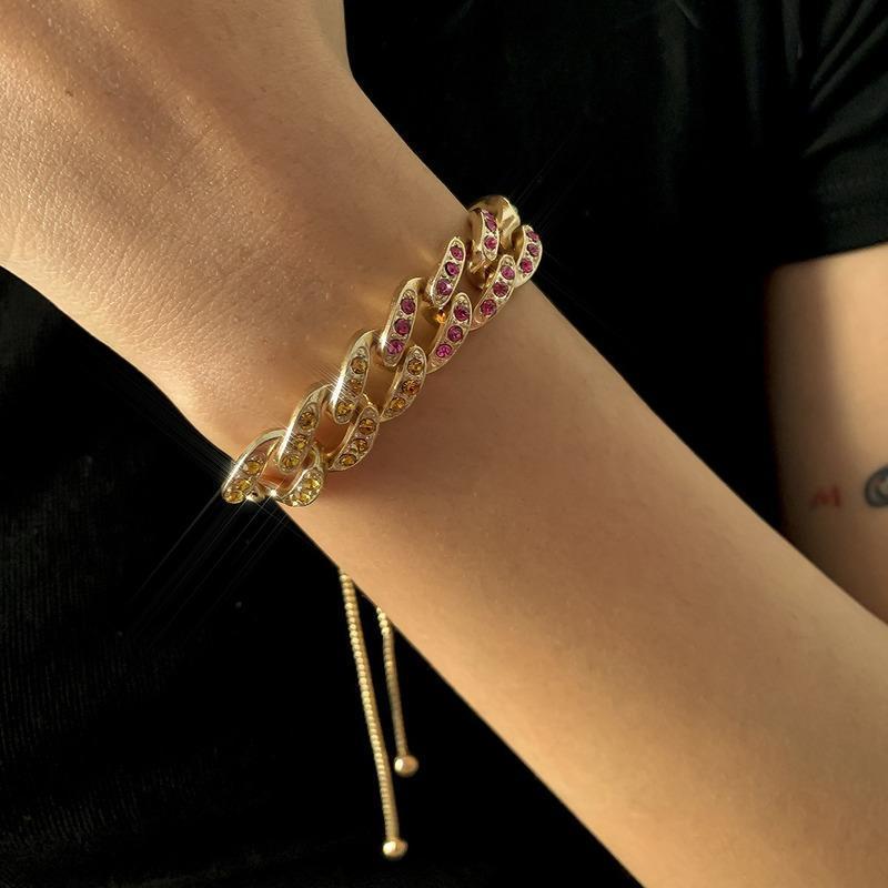 ORGIN ESTATE DESIGN DESIGN Geometrico scava fuori Braccialetto di fascino per le donne di lusso Bling Bling Blackestone Bracciale gioielli