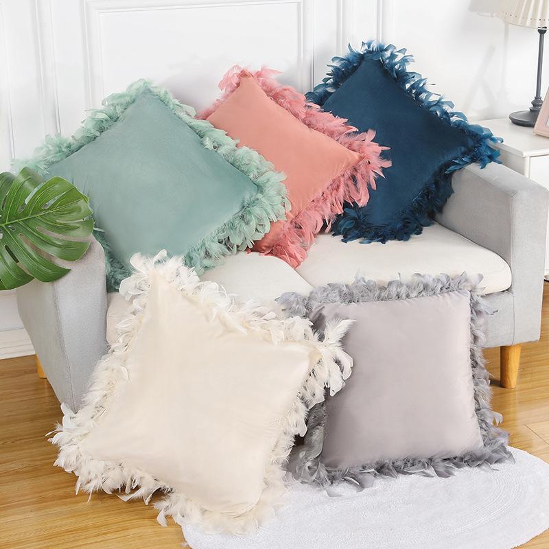 Cojín / almohada decorativa 2021 Funda de terciopelo Cubierta de cojín de lujo Cuadrado cuadrado Almohadas decorativas con plumas Llegada
