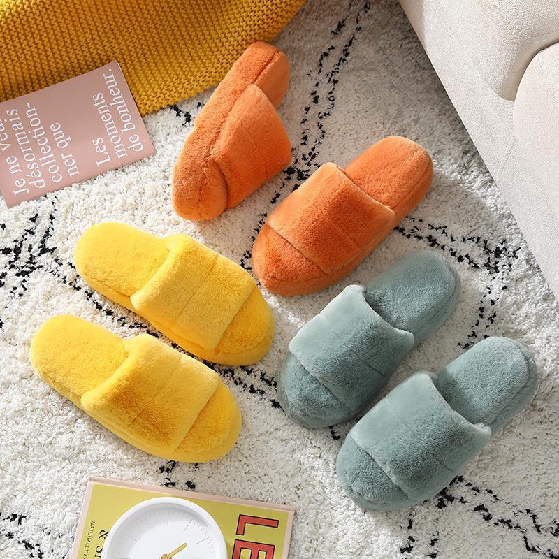 Hausschuhe Frauen Winter Flock Macarons Farbe Indoor Home Plüsch Warzenische Dicke Gummi Flop Flips Baumwolle Schuhe