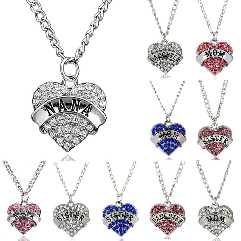 Diamond Peach Heart Pendant Necklace Mother's Day Birthday Gift Family Necklaces Crystal Rhinestone Women's Jewelry 10 Styles