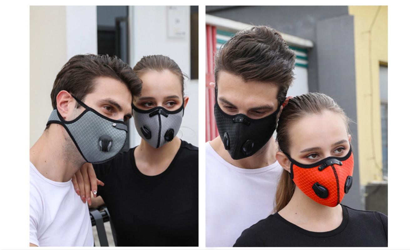 Anti-pollution américain stock masque facial masque actif du charbon avec filtre PM2.5 Sport Formation Formation MTB Road Vélo Protection Masque de poussière de DH