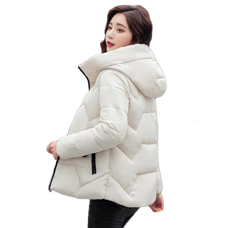 2021 Yeni Düşük Pamuk Ceket Kısa Yeni Kore Kış Sarı Artı Boyutu Hood Kalın Kadın Isı Parkas Ile