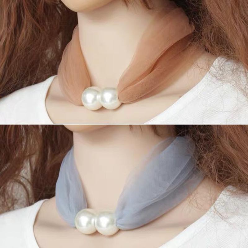 Nueva hebilla de perlas pequeña seda bufanda variedad pequeña bufanda versión coreana de hilado de red salvaje gasa color puro color decorativo babero A30