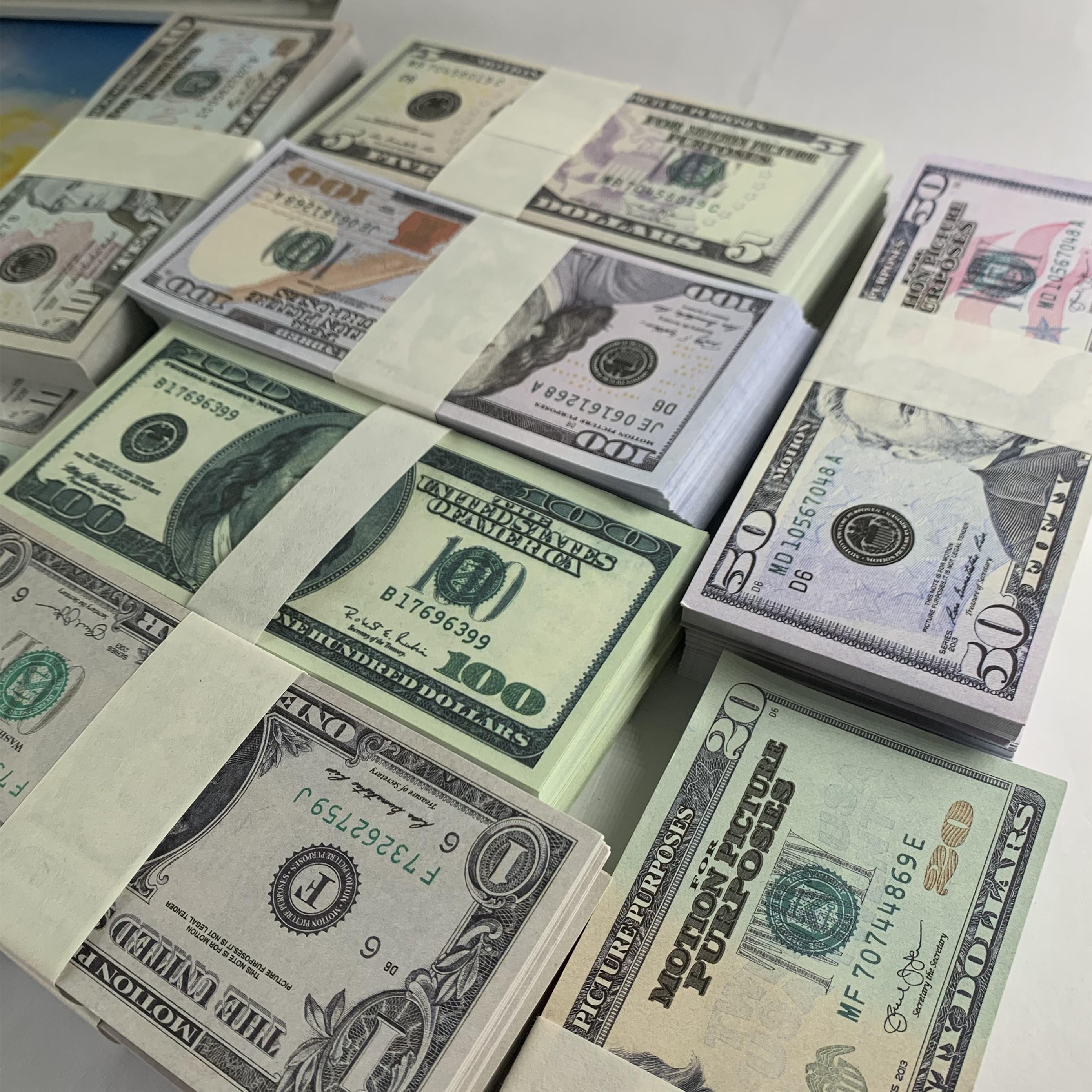 Y la-027 dinero falsificado dinero caliente 5 aporte 20 dinero falso 100 1 billet bar falso accesorios de dólar billet bwxu película tv shooting 50 10 atmos ckik