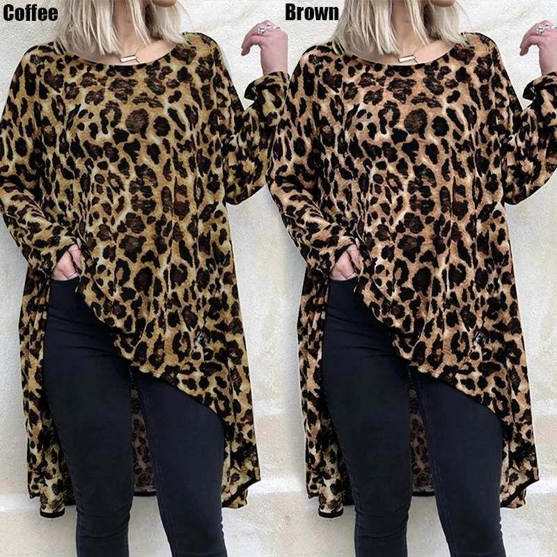 Celmia Женская осень осенью туника с длинным рукавом нерегулярные леопардовые печатные блузки 2019 топы женская винтажная длинная рубашка повседневная Blusa Plus размер T200321