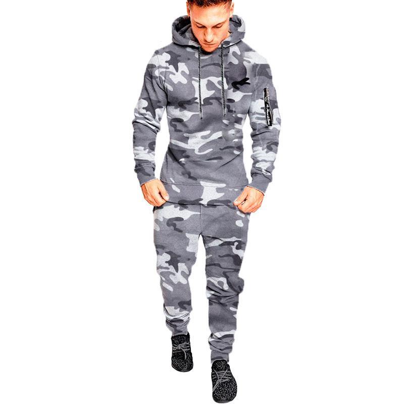 Yeni Eşofman Sonbahar Kış Camou Hoodies Rahat Ter Suits İpli Kazak Kıyafet Spor Erkekler 2 Parça Set Artı Boyutu 201204