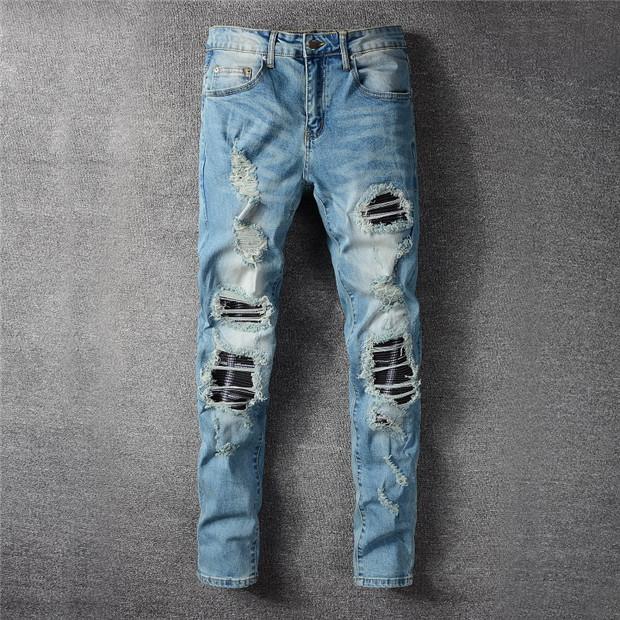 Новые мужские роскоши дизайнер Bal Mens джинсы тонкие джинсы моды дизайнер рок звезда мужской комбинезон дизайнер Джинсовые мужские брюки