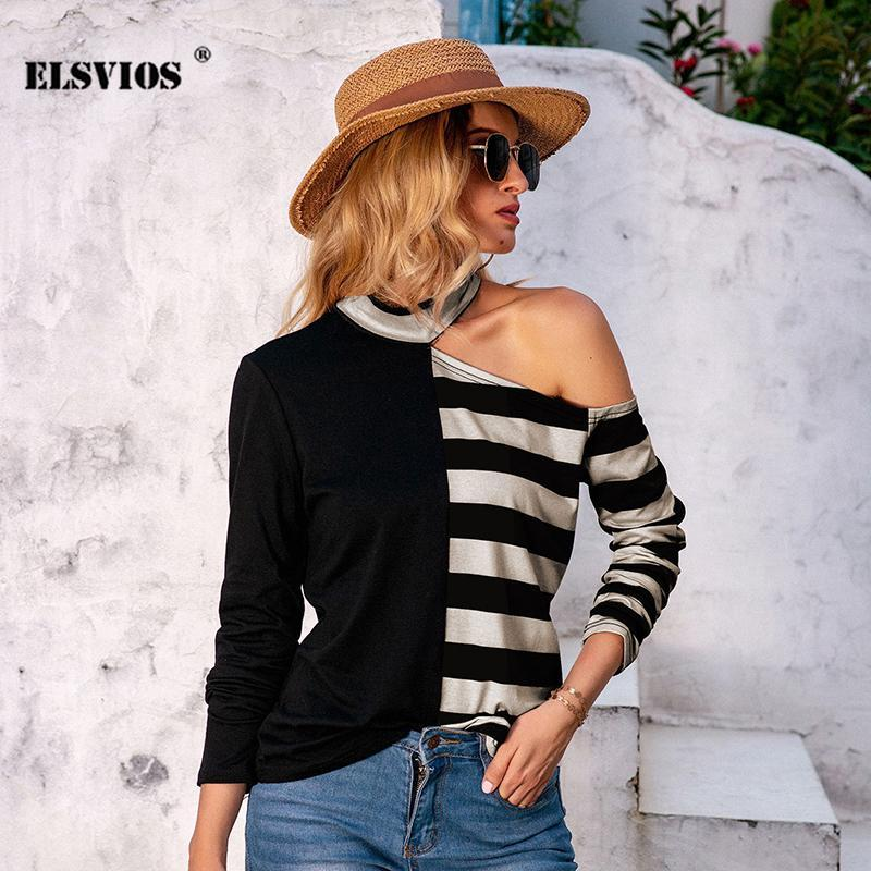 Autumn New Sexy Half Off Should Striped Stampa Top Casual Maniche lunghe Stuover Stuover T-shirt Elegante stile streetwear