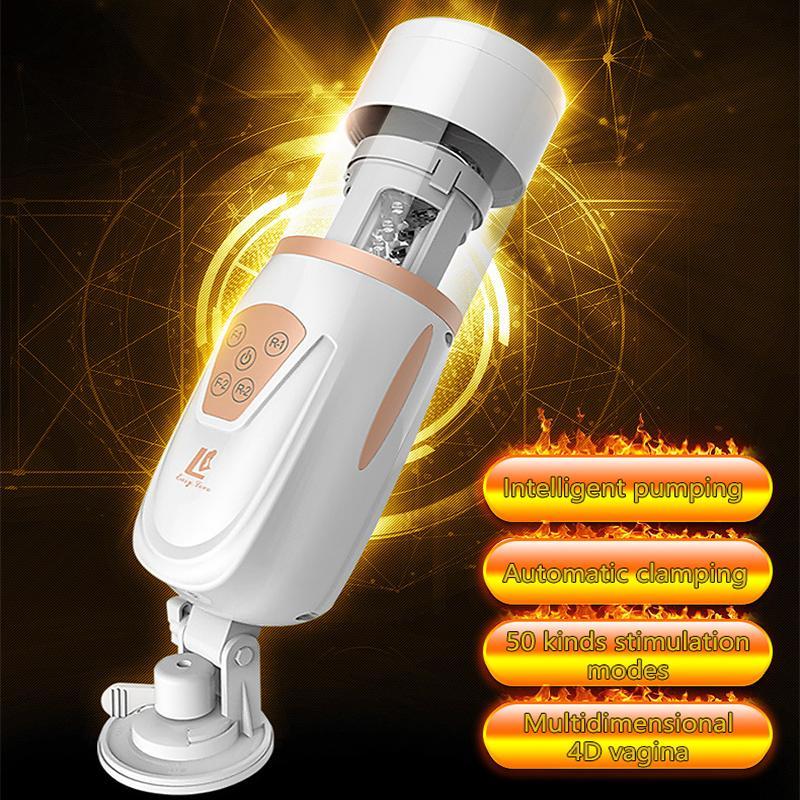Otomatik piston teleskopik masturbator erkekler için yapay penis vibratör oral oral seks emme anal vajinal seks makinesi yetişkin erkek seks oyuncakları Y201118