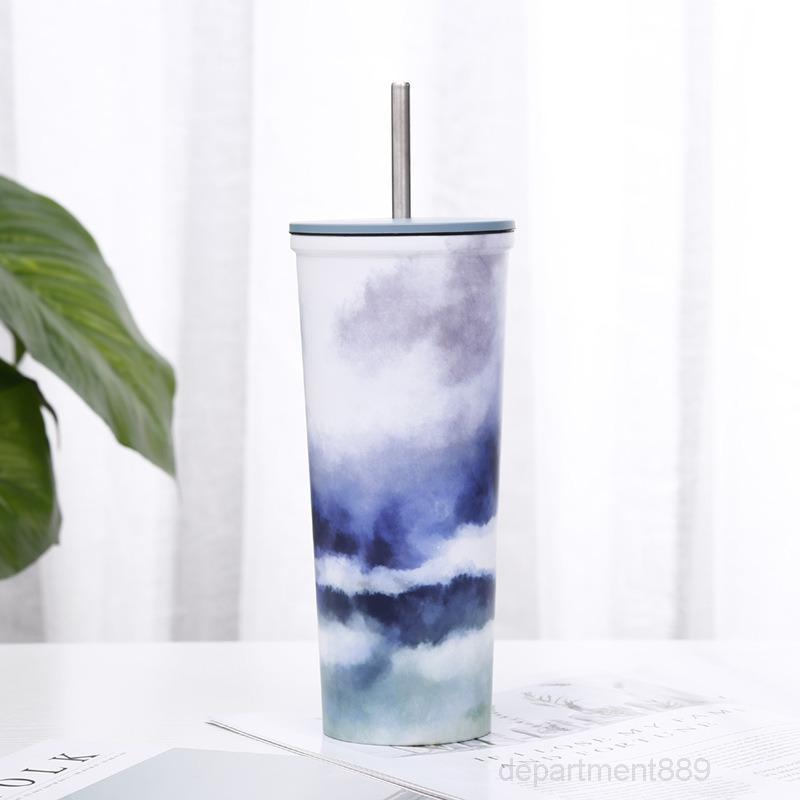 680 мл чашки из нержавеющей стали с крышками соломинки с двойным стенным стенным стен, стеннутыми пинты Tumblers 23 унции кофе чай кружки офисные бутылки воды OWD2298