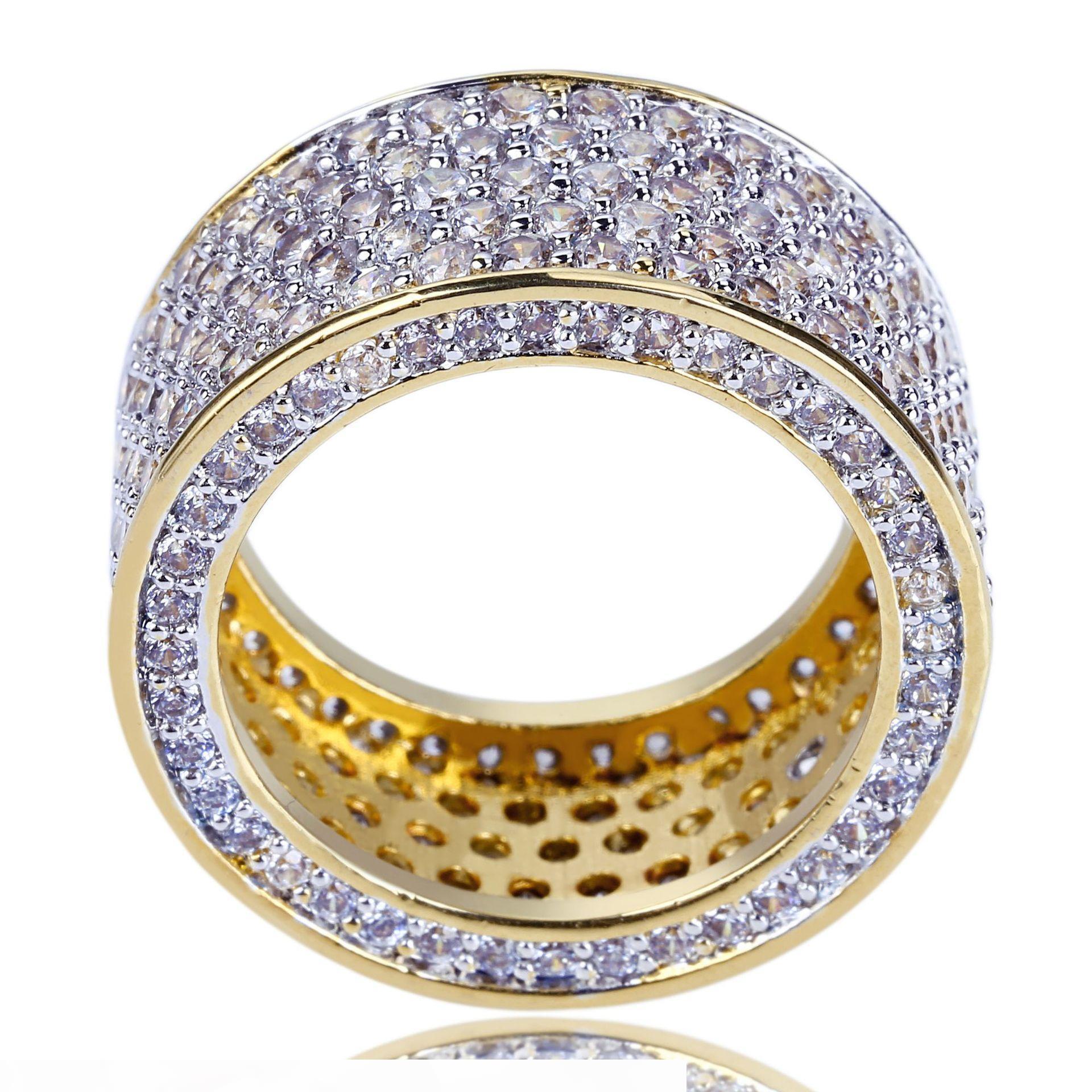 HIP HOP Bijoux Hommes Hommes Bague Gold Sortie Gîte Gîte Micro Pave Cubic Zircon Promise Diamond Doigt Anneaux de la marque de luxe de la marque Cadeau de personnalité