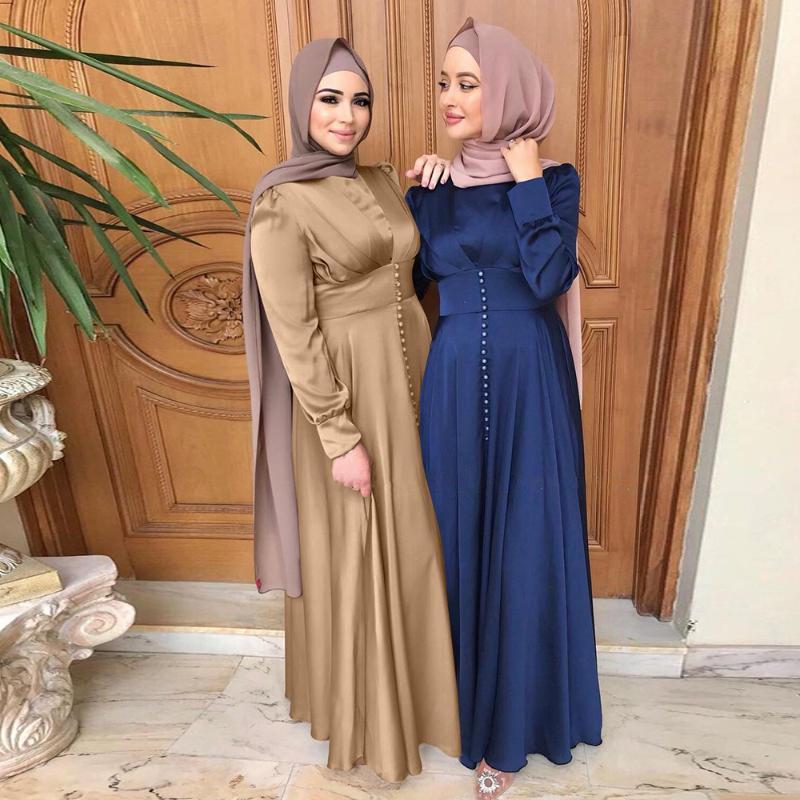 Abaya Dubai Türkiye İpeksi Saten Müslüman Elbise İslam Elbise Abayas Kadınlar Vestidos Robe Longue Vetement Femme Musulman de Mode F2639