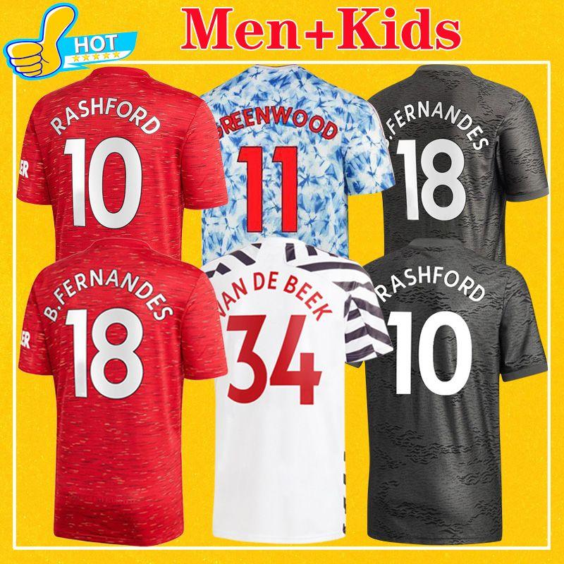 Manchester Rashford Greenwood Martial Soccer Jerseys Cavani Man 2020 2021 Utd Fernandes T-shirt de football 4xl 20 21 Hommes + Kit Kit