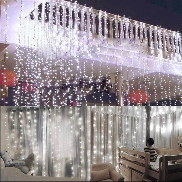 التوصيل المجاني 15M س الدافئة 3M 1500-LED الضوء الأبيض الرومانسية زفاف عيد الميلاد في الهواء الطلق الديكور الستار سلسلة ضوء الولايات المتحدة قياسي دافئ الأبيض