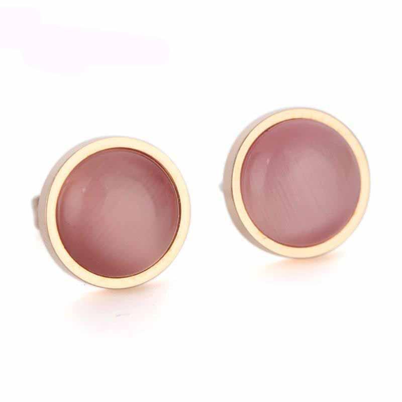 Sıcak Satmak Moda Altın Renk 316L Paslanmaz Çelik Takı Kadınlar için Opal Küpe