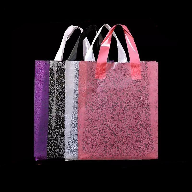 30x38см с 8 см маленький большой белый / розовый / черный кружевной пластиковой косметической сумкой, пластиковые подарочные пакеты с ручкой