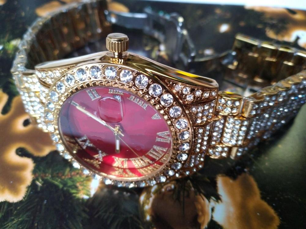 Gold Watch Watches Stainless Full Diamond Women Full Iced Out Watch Mens Movement Men Wacth Steel Quartz Dtfxh