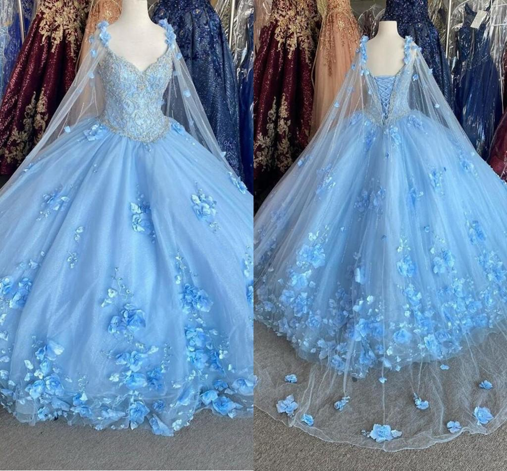 Bahama Blue 3D Flowers Quinceanera Dresses With Wrap Crystal Beaded Dress Evening Gowns Classic Sweetheart Lace-up Sweet 16 Dress Plus