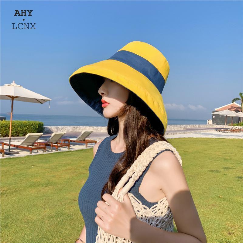 Verano NUEVA PROTECCIÓN UV Cubo de mujer Sombrero de cucharón ancho Remolque reversible Panamá Sombrero Pescador de Pescador Pescador Pescador para mujer