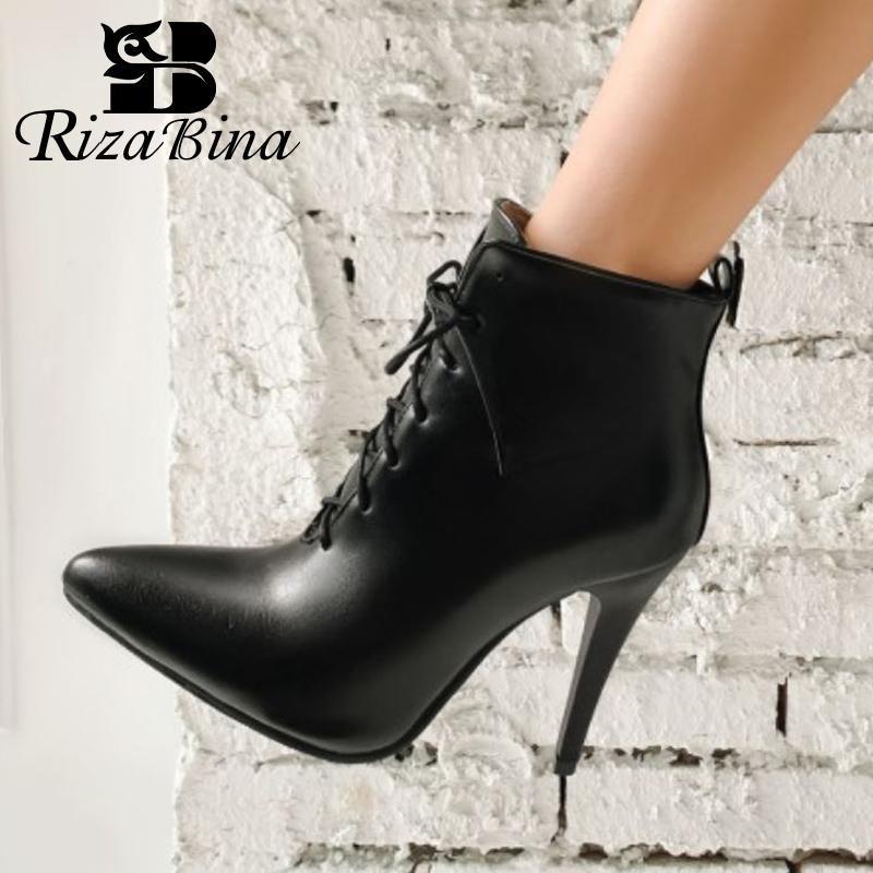 RIZABINA Tamaño 30-43 Mujeres Cruz atractiva de los cargadores del tobillo de la correa fina de tacón alto Zapatos de invierno Mujer punta estrecha bota corta Señora Calzado