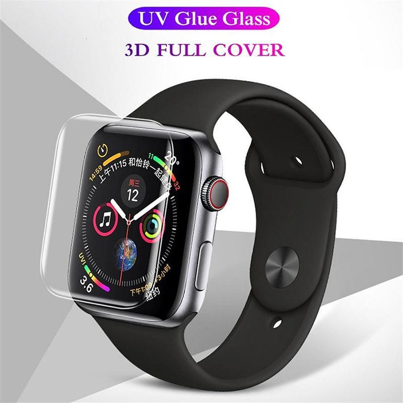 Protector de pantalla templado de película de glass de pegamento completo de 9h 3D para Apple Watch 38mm 42mm 40mm 44mm 5 4 3 2 1 serie
